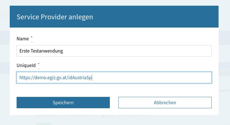 Basisdaten eines neues Service Providers